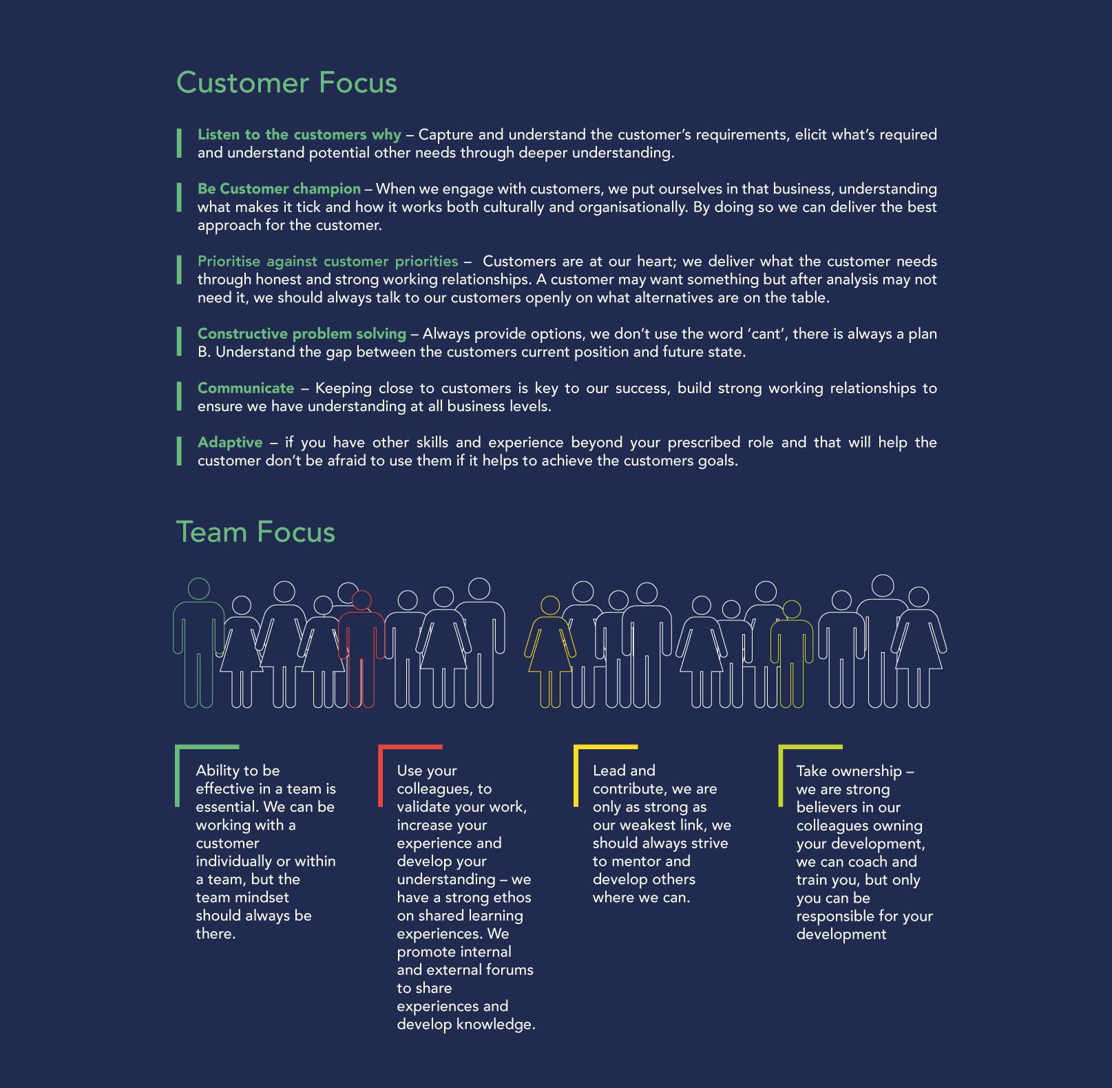 Perform Partners Customer and Team Focus